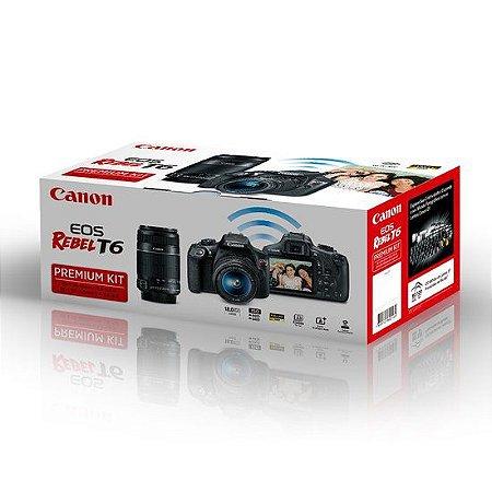 Câmera Canon EOS Rebel T6 PREMIUM KIT Lentes 18-55mm e 55-250mm IS II