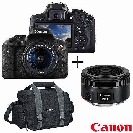 Câmera Canon EOS Rebel T6i Kit Lente EF-S 18-55mm STM + Lente EF 50mm f/1.8 STM + Bolsa 300DG