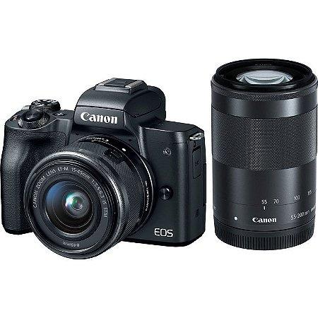 Câmera Canon EOS Rebel M50 PREMIUM KIT com Lentes 15-45mm e 55-250mm IS STM