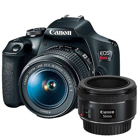 Câmera Canon EOS Rebel T7+ Kit com Lentes Canon EF-S 18-55mm + 50mm f/1.8 STM