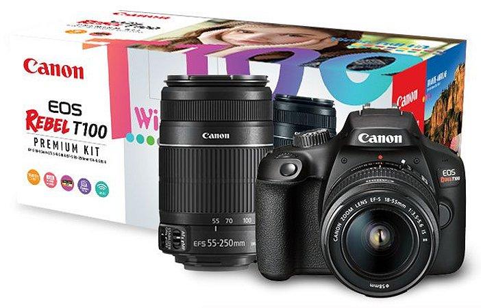 Câmera Canon EOS Rebel T100 Premium Kit com Lentes 18-55mm + 55-250mm IS