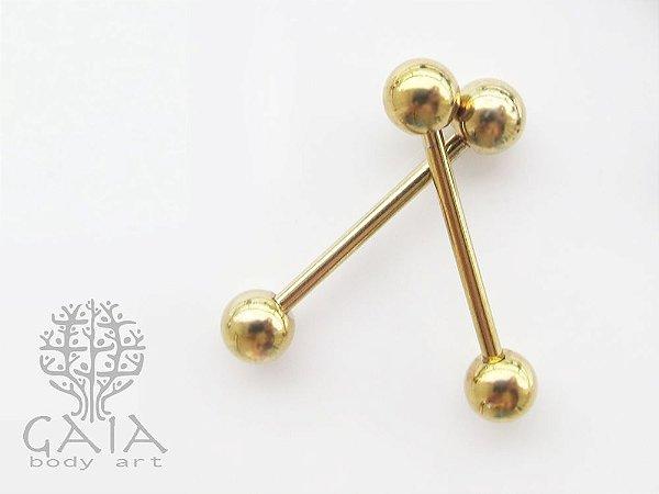 Piercing Mamilo Barbell Básico Anodizado Dourado