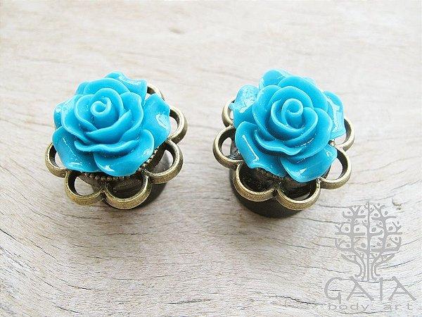Alargador Arcos & Rosa Bronze e Turquesa