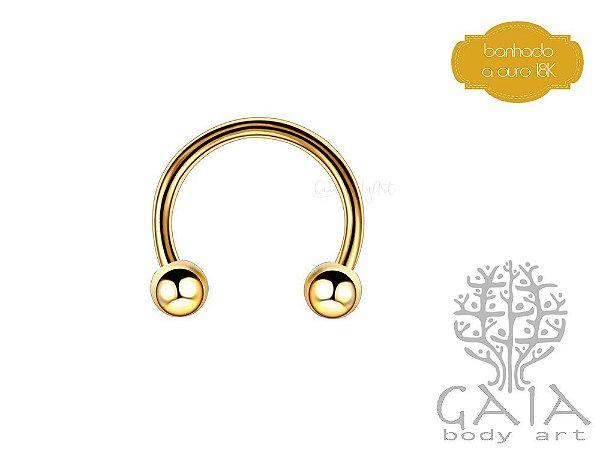 Ferradura Esferas Banhada a Ouro Dourado