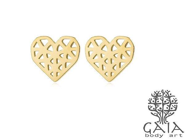 Brincos Aço Cirúrgico Coração Origami Dourado