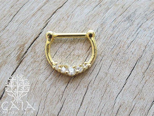Piercing Clicker Septo Dourado Zircônias Beauty