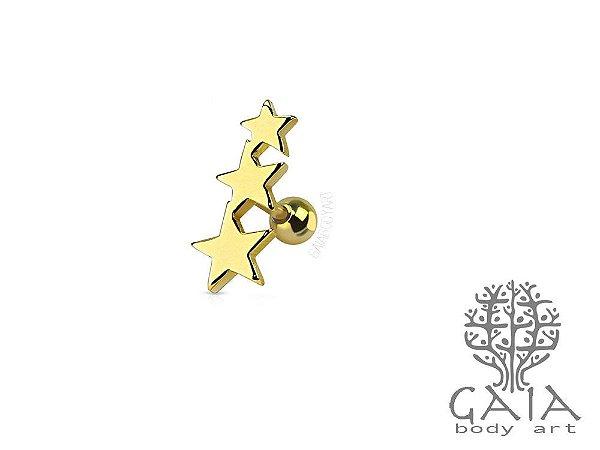Micro Barbell Trio de Estrelas Dourado