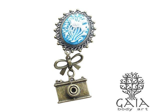 Alargador Camafeu Azul Câmera Retrô
