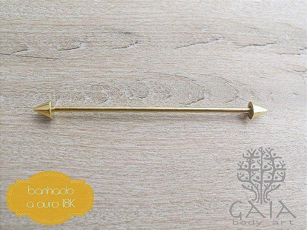 Barbell Industrial Transversal Aço Banhado a Ouro Spike Dourado