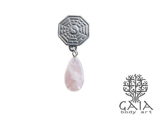 Alargador Baguá Pedra Quartzo Rosa