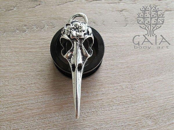 Alargador Anodizado Preto Clássico Bird Skull