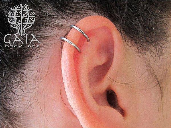 Piercing Falso Cartilagem Aço Cirúrgico Argola Dupla