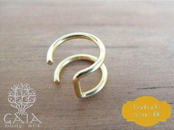 Piercing Falso Cartilagem Aço Banhado a Ouro Argola Dupla