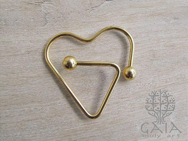 Piercing Mamilo Anodizado Dourado Heart