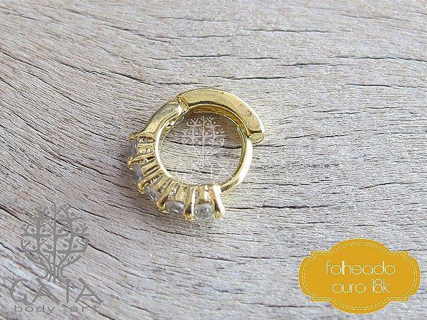 Argola Cartilagem Folheada a Ouro Zircônias Jasmine