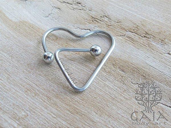 Piercing Mamilo Aço Prateado Stylized Heart