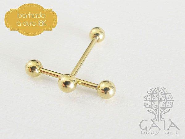 Piercing Barbell Básico Banhado a Ouro 18k