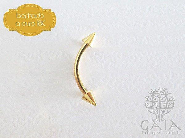 Micro Barbell Curvo Banhado a Ouro Spikes