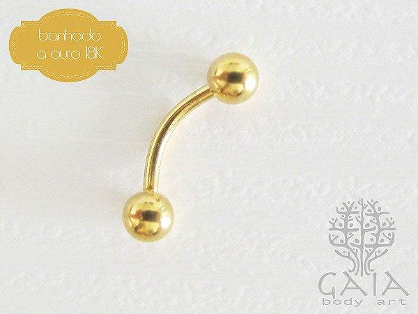 Micro Barbell Curvo Banhado a Ouro Esferas