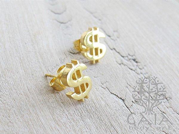 Brincos dourados Cifrão  [o par]
