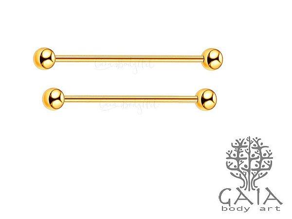 Barbell Industrial Transversal Dourado