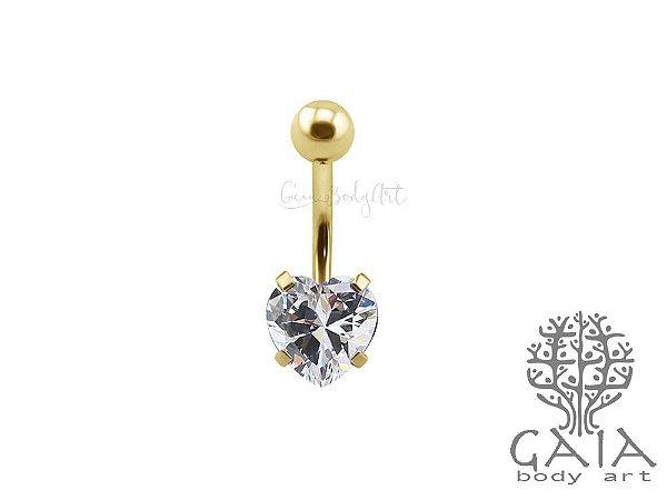 Piercing de Umbigo Dourado Zircônia Coração