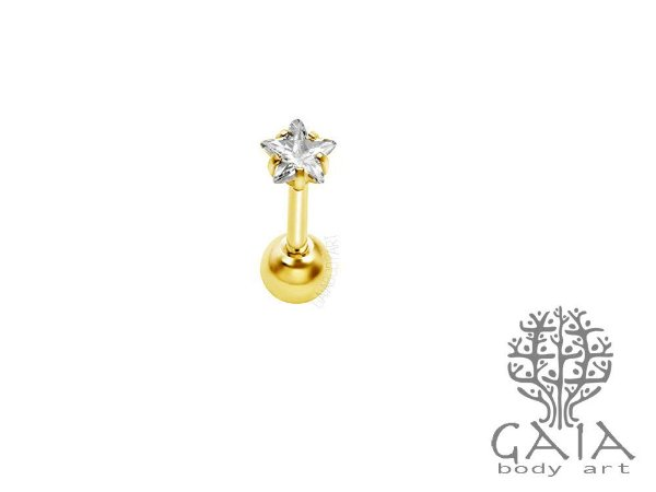 Micro Barbell Dourado Zircônia Estrela