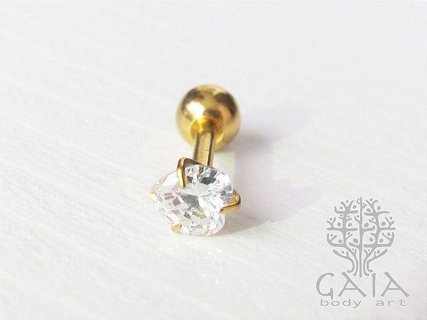 Micro Barbell Dourado Coração Zircônia