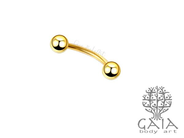 Micro Barbell Curvo Esferas Dourado