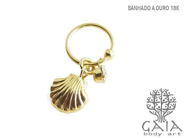 Argola Captive Dourado Concha & Ponto de Luz