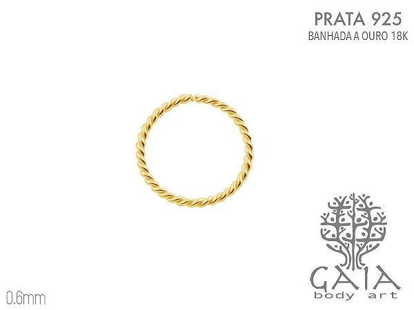 Argola Prata 925 Trançadinha Dourada