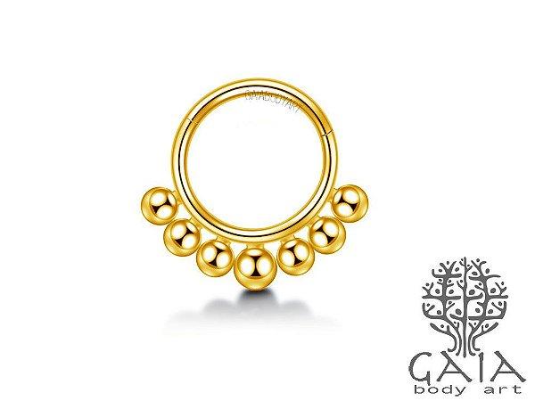Argola Articulada Spheres Dourada