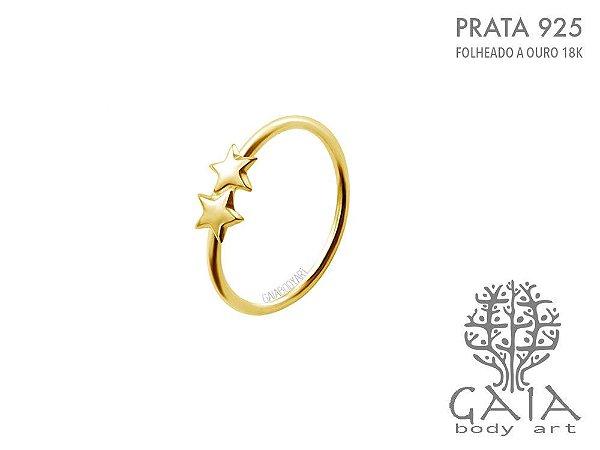 Argola Dourada Prata 925 Estrelas