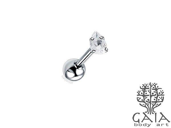 Micro Barbell Aço Cirúrgico Zircônia Gota