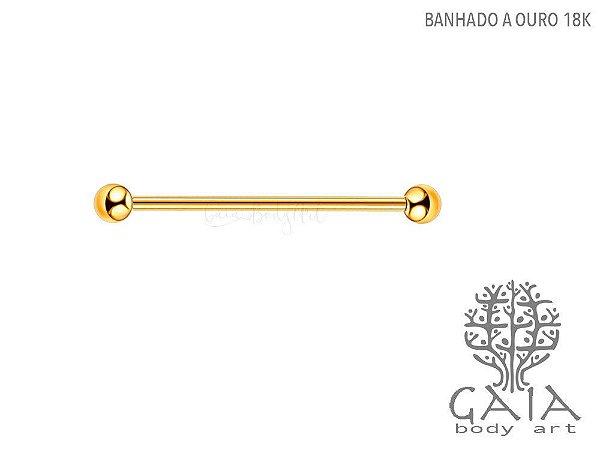 Barbell Transversal Esferas Dourado Banhado a Ouro 18k