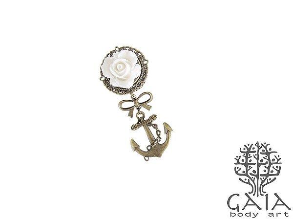 Alargador Rosa Branca Âncora Bronze