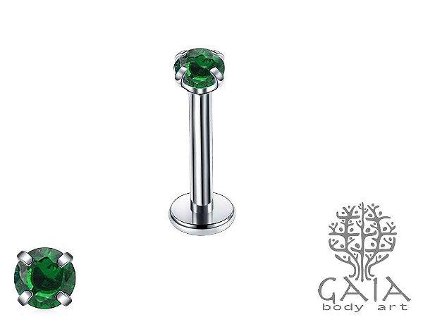 Labret Garras Zircônia Redonda Verde