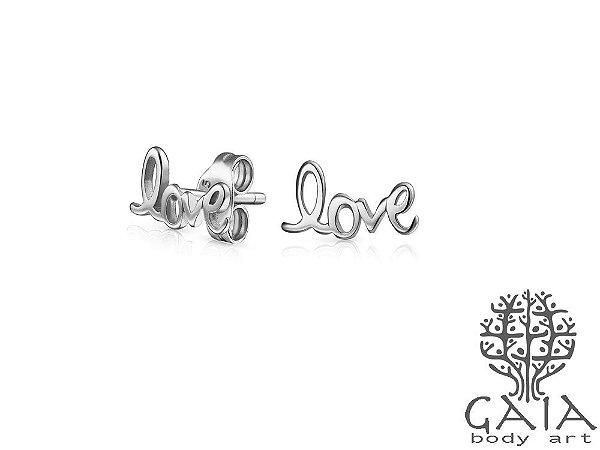 Brincos Prateados Love [o par]