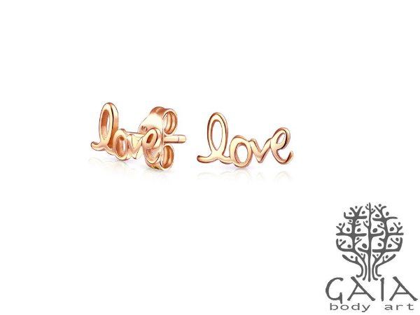 Brincos Ouro Rosa Love [o par]