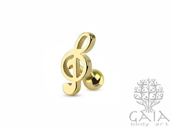 Barbell Aço Nota Musical Dourado