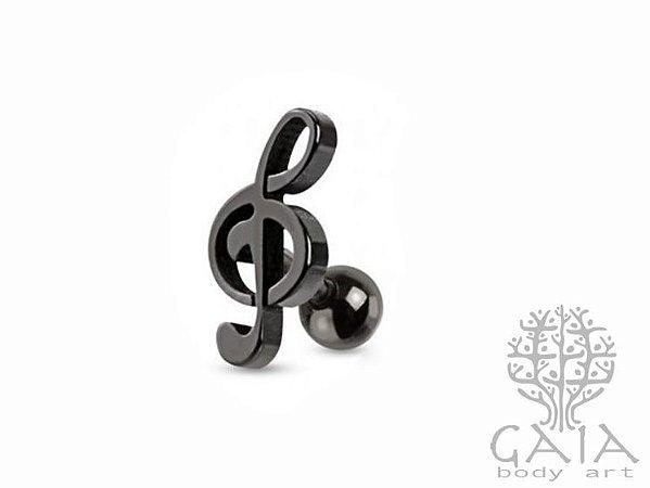 Barbell Aço Nota Musical Preto