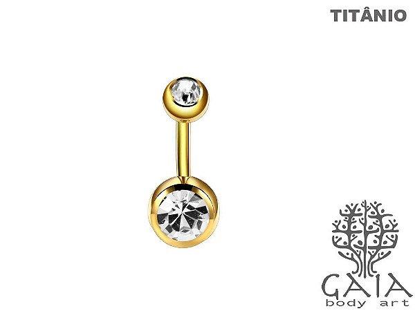 Barbell Umbigo Titânio Dourado Esferas Dupla de Zircônias