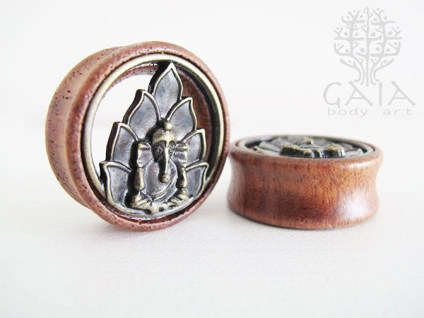 Alargador Madeira e Metal Ganesha