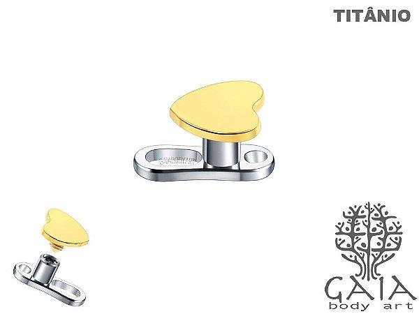 Microdermal Titânio Coração Dourado