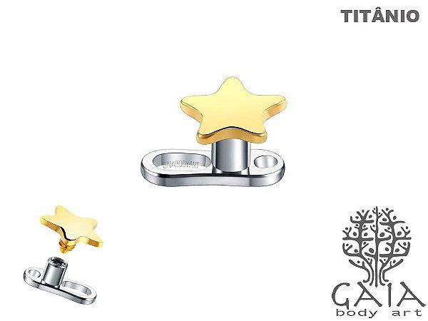 Microdermal Titânio Estrela Dourada