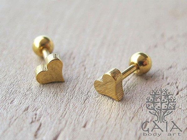 Barbell Coração Anodizado Dourado