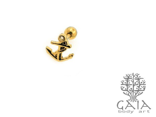 Micro Barbell Âncora Dourada