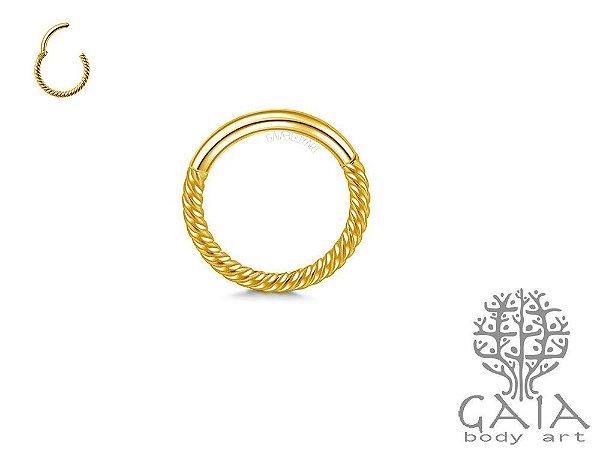 Argola Articulada Tressé Dourada
