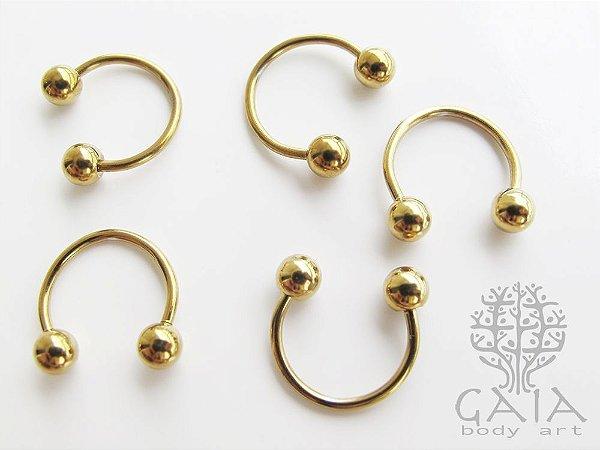 Ferradura Esferas Aço Cirúrgico Anodizado Dourado
