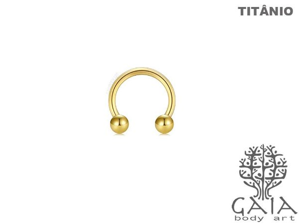 Ferradura Esferas Titânio Dourado